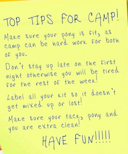 Camp Top Tips